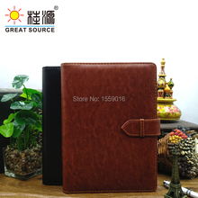 High qualigh leather 6 ring binder with lock hasp for A5 notebook