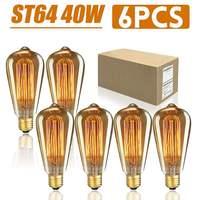 6PCS/Box ST64 E27 LED 40W Dimmable Edison Bulbs Antique Vintage Filament Incandescent Light Lamp 2200K AC220V