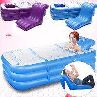 165*85*45cm Blue Large Size Inflatable Bath Bathtub SPA PVC Folding Portable For Adults With Air Pump Household Inflatable Tub