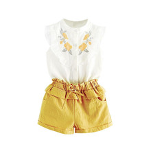 Girls Suits Summer Style Kids Beautiful Floral Flower Sleeve Children O-neck Clothing Shorts Suit 2Pcs Clothes
