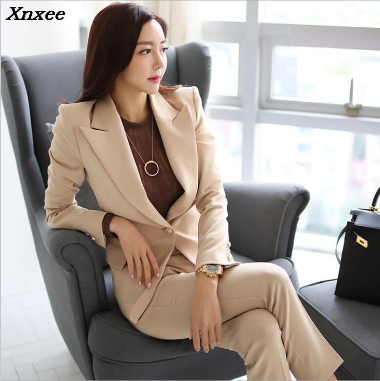 Women pants suit sets blazer + pants formal office ladies two pieces set women outfits female work wear blazer suit set Xnxee