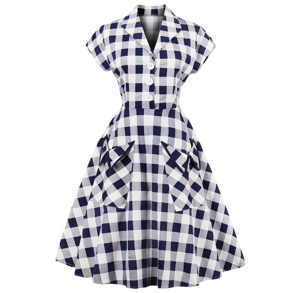 Ретро 60 s Одри Хепберн винтажное женское платье элегантное платье в клетку с принтом на пуговицах два кармана ретро платье Летняя Вечеринка Vestidos De Festa