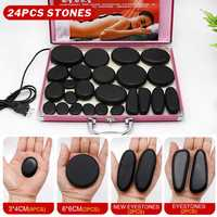 24pcs/set Body Massage Stone Heater Box Hot Stone with 220V/110V Heating Box Relieve Stress Back Pain Health Care Relaxation