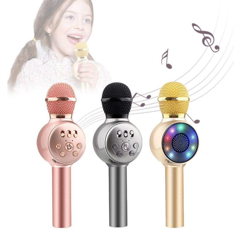 Children Wireless Bluetooth Microphone Handheld Portable Colorful Lights Microphone KTV Singing Karaoke Audio Device Player