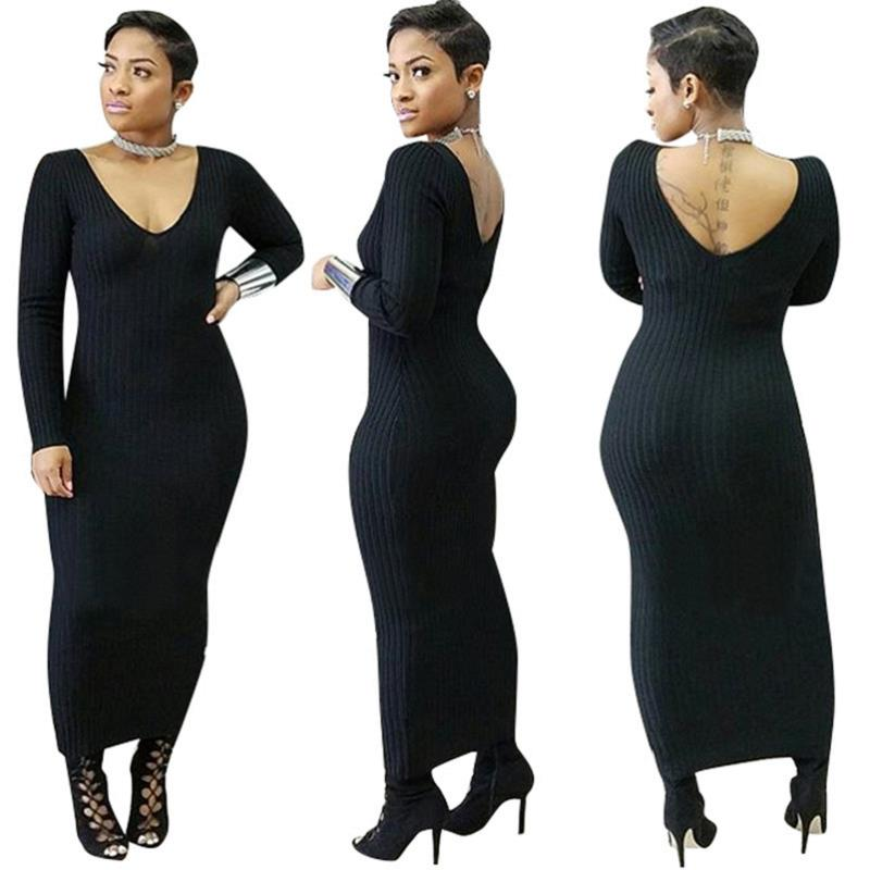 Casual Long Sleeve Dress Women Knit Ankle Length Long Pencil Cotton Autumn Basic Dresses Winter Maxi Straight Dresses Vestidos in Dresses from Women 39 s Clothing