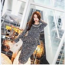 Amolapha elegante de las mujeres de punto suéteres faldas conjuntos perlas Tops  Jersey manga larga falda 2 piezas trajes   ca803b7d3664