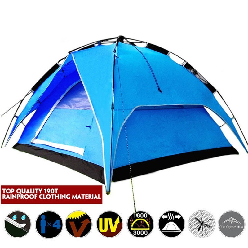 3 4 Person Double Layer Quick Opening Automatic Tent Windproof Big Camping Tent Easy Instant Setup