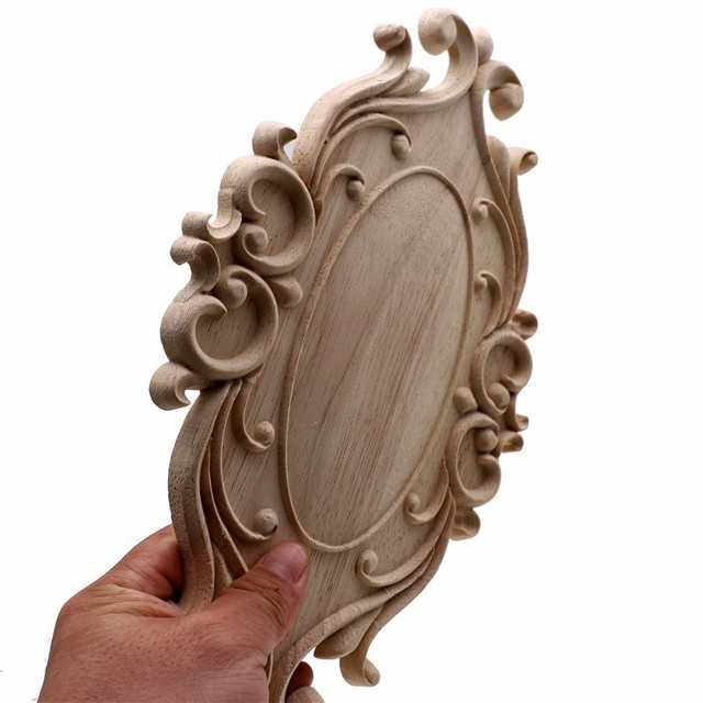RUNBAZEF Solid Wood Furniture Decorative Accessories New Flower Carved Door Vintage Home Decor Figurines Miniatures Ornaments 5