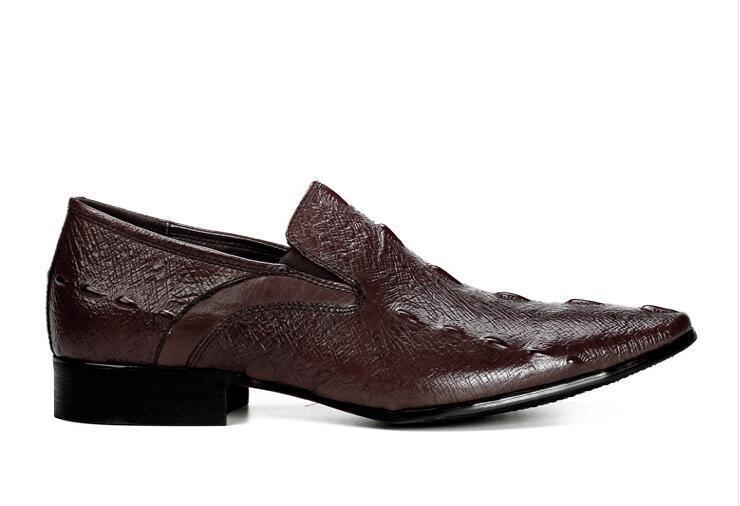 on brown Vestido Apontou Homens Dos Oxfords Sapatos Black Genuíno Toe Elástico chocolate Slip Formal Couro Derby De qUdZt