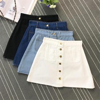 Denim Skirt Spring Summer Women Short A-line Buttom Skirts High Waist Slim Pocket Clothes For Female Causal Summer Women Skirt 3