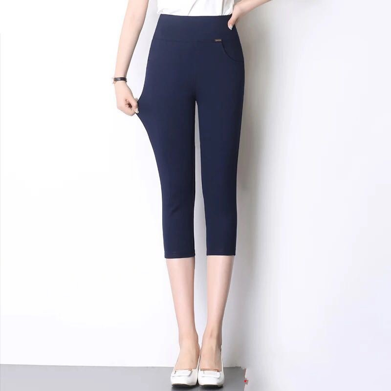 New 2019 Spring Summer Fashion Women's High Waist Pencil   Pants     Capris   Casual   Pants   Stretch Skinny   Pants   Plus Size