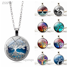 Tree of Life Simple Style Necklace Glass Dome Cabochon Jewelry Women DIY Paintings Art Handmade Pendant Gifts