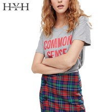 HYH HAOYIHUI 2019 New Summer Women T-shirt Simple Commuter Letter Print Drop Shoulder drop shoulder milk print high low t shirt