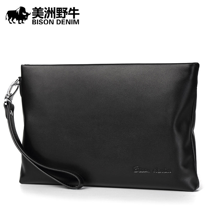 2018 BISON DENIM Men Clutch Bag Genuine Leather Large Capacity Purse New Business Envelope Handbag Men's Purse Cowhide Wallet 2017 men clutch bag long section soft genuine leather deer pattern wallet men s handbag purse large capacity business clutch bag