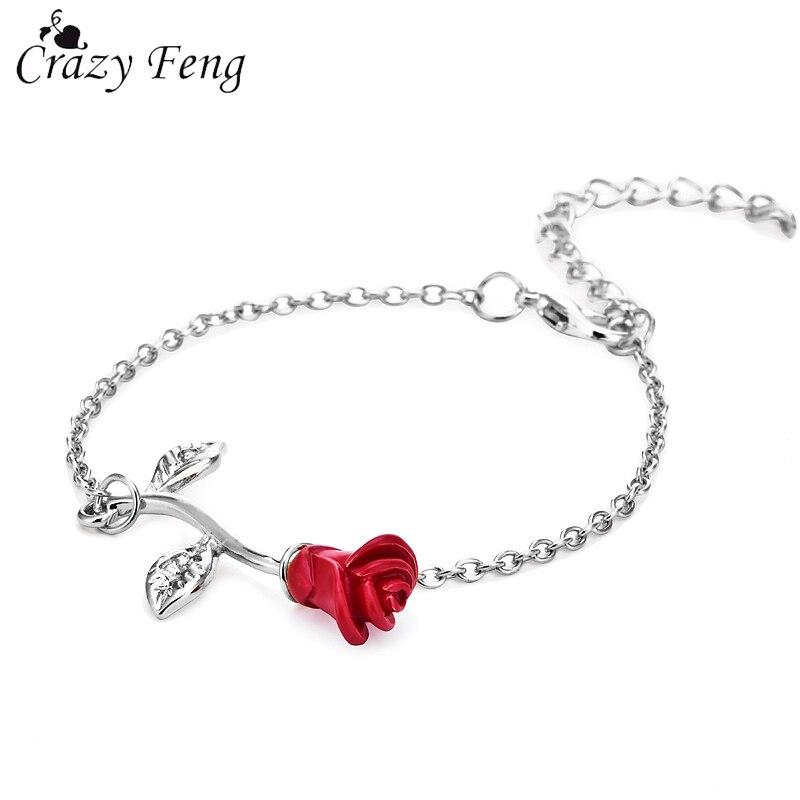 Feng louco do vintage rosa flor encantos pulseiras na moda feminino link & chain pulseira pulseiras festa de casamento jóias presente da dama de honra