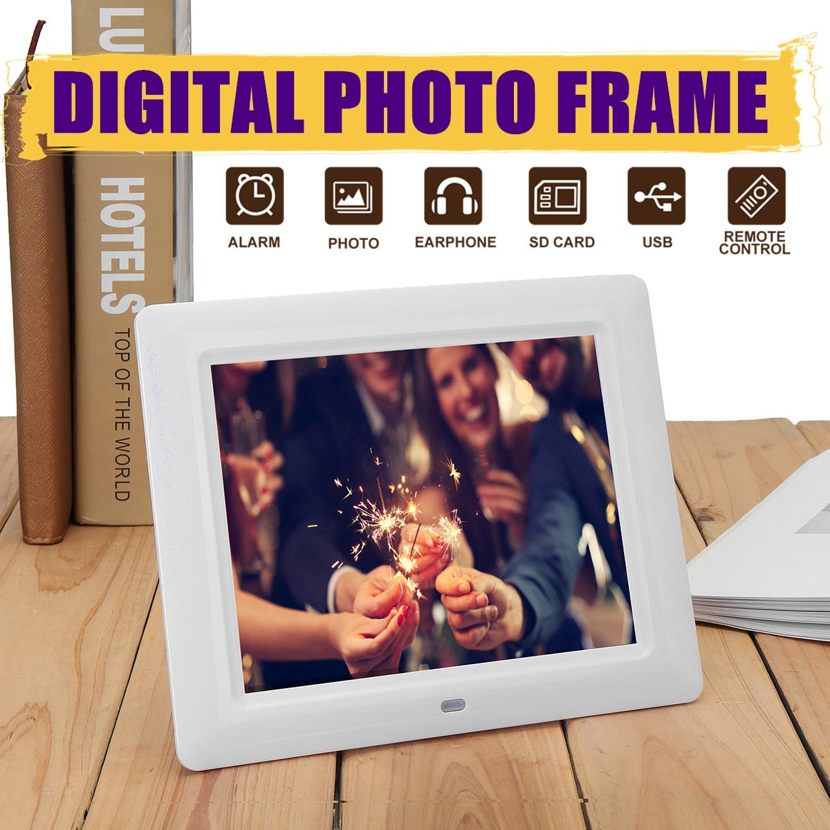 Multi functional 8 Inch TFT LCD HD Digital Photo Frame Clock MP4 Movie Player Electronic Album With Remote Control 217x173x23mm
