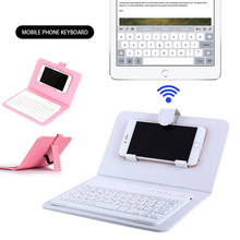 Ponsel Bluetooth Keyboard Case Kulit Dudukan Cover untuk 4.5-6.8 Inch iPhone/Android Ponsel(China)