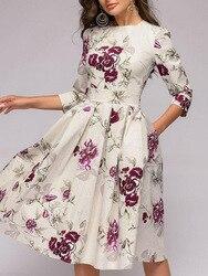 OLN 2019 moda kobiety Plus rozmiar elegancka Sukienka z długim rękawem, dekolt w kwiaty, sukienki damskie Sukienka Femme Vintage sukienki Vestido 6