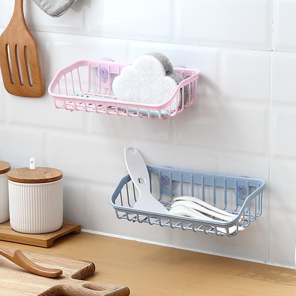 Kitchen Gadget Dual Suction Cup Drainage Shelf Dish Sponge Storage Rack Holder Kitchen Storage Accessories