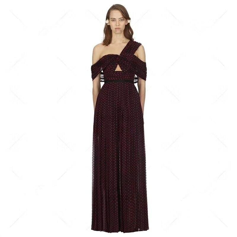 Deat Mc02313 Été Maxi Patineuse Robes Nouveautés Burgundy Plein Vague Femmes Épaule De Sexy Point 2019 Robe Évider Simple aB4EnxaqU