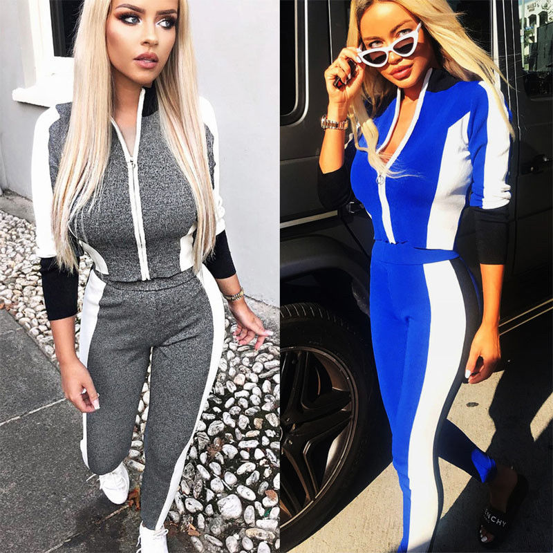 Two Piece Set Fashion Women Striped Tracksuit long Sleeve Crop Top and  Pants Fitness Push up ec8f66f0c