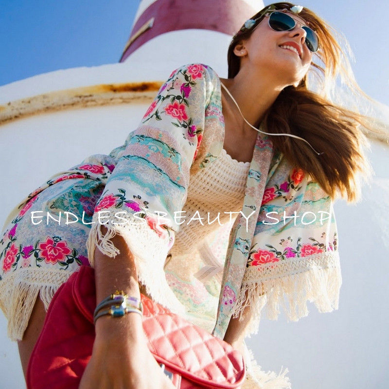 Women Floral Tassels Bikini Cover Up Elegant Summer Loose Kaftan Kimono Cardigan Femme Beach Cover Up Playa Dress Beachwear