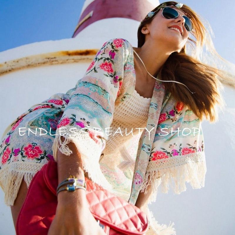 Women Floral Tassels Bikini Cover Up Elegant Summer Loose Kaftan Kimono Cardigan Femme Beach Cover Up Playa Dress Beachwear