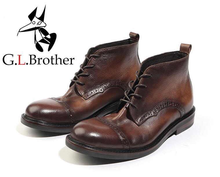 Martin Boots Men Lace Up Carved Brogue Shoes Genuine Leather Pleated Vintage Goodyear Casual Shoes Handmade Dress Boots vintage lace insert halloween pin up dress