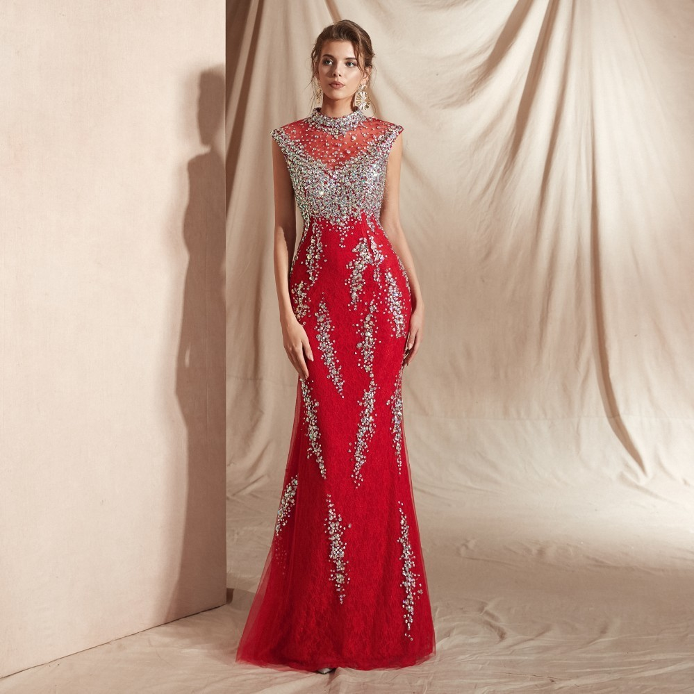 Vivian's Bridal 2019 Fashion High-neck Sequin Pattern Mermaid   Evening     Dress   Sexy Illusion Mesh Lace Zipper Formal Red Party Gown