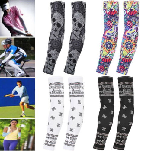 USA 1 Pair Cooling Arm Sleeves Cover UV Sun Protection Outdoor Sports Unisex Arm Warmers