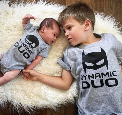 Brother Matching Tops Family Newborn Kids Baby Boy Dynamic Duo Romper Bodysuit T-shirt Cotton Clothes