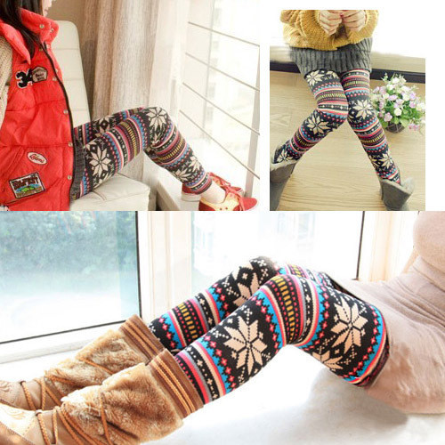 Winter Women Christmas Leggings Fleece Lined Ugly Tribal Snowflake Pattern Thicken Winter Legging Women Pants