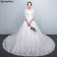 Vintage Wedding Dress 2019 Arabic Ball Gown Wedding Dresses White Lace 3/4 Sleeve IIIusion Back vestido de noiva plus size