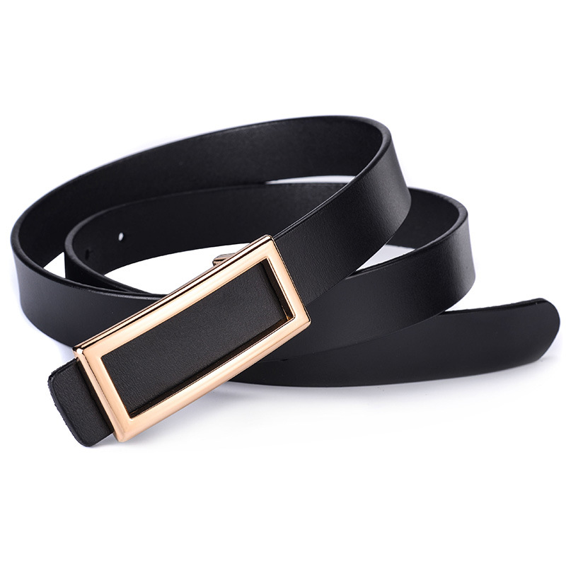 2019 Fashion Designer Square Metal Smooth Buckle Belt For Women Quality Genuine Leather Waist Belts For Jeans Female Waistband