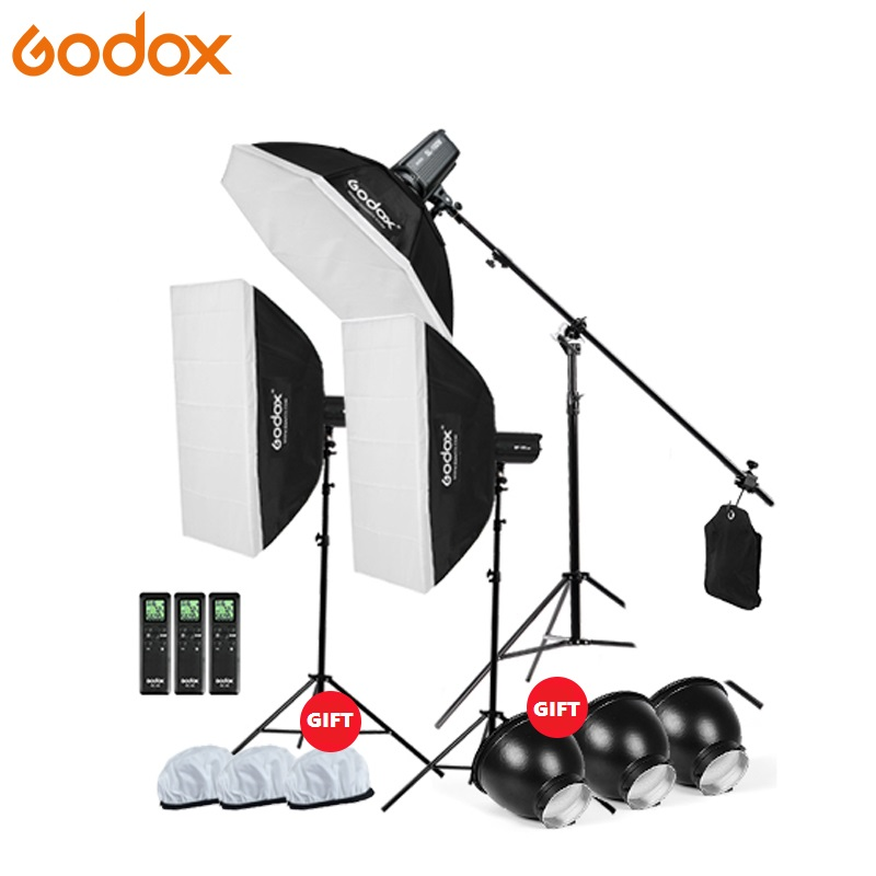 Godox SL 200W 200Ws 5600K Continuous Light Studio LED video Light With Softbox Light Stand Boom