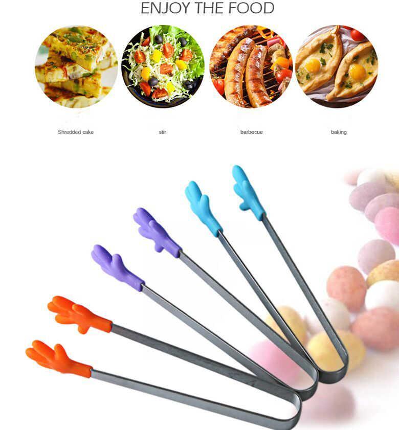 3 colores de acero inoxidable Clip de comida antideslizante Mini silicona pequeña Carpeta de mano Clincher cubos de hielo herramientas de cocina