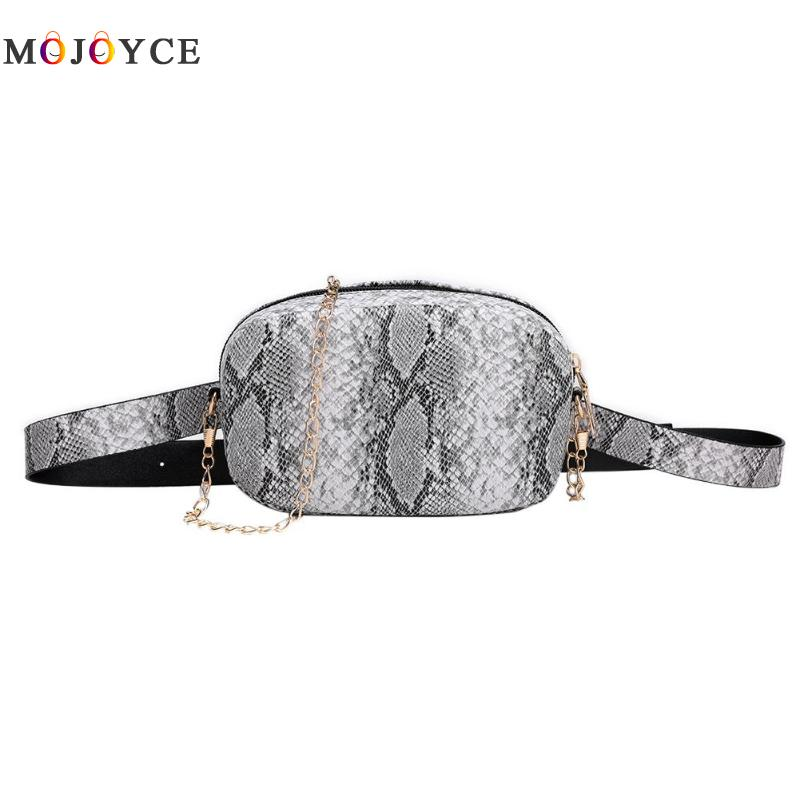 Snake Pattern Leather Chain Waist Bags Phone Pouch Women PU Leather Fanny Packs Fashion Female Belt Bags