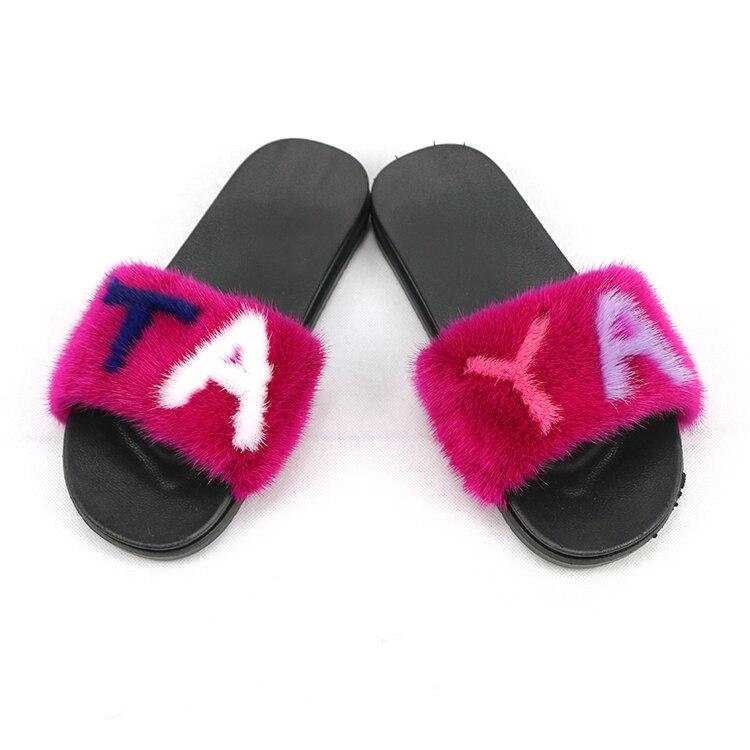 Livraison gratuite femmes vison fourrure pantoufles couleurs mélangées réel fourrure diapositives femme sandales avec fourrure maison mignon en peluche chaussures