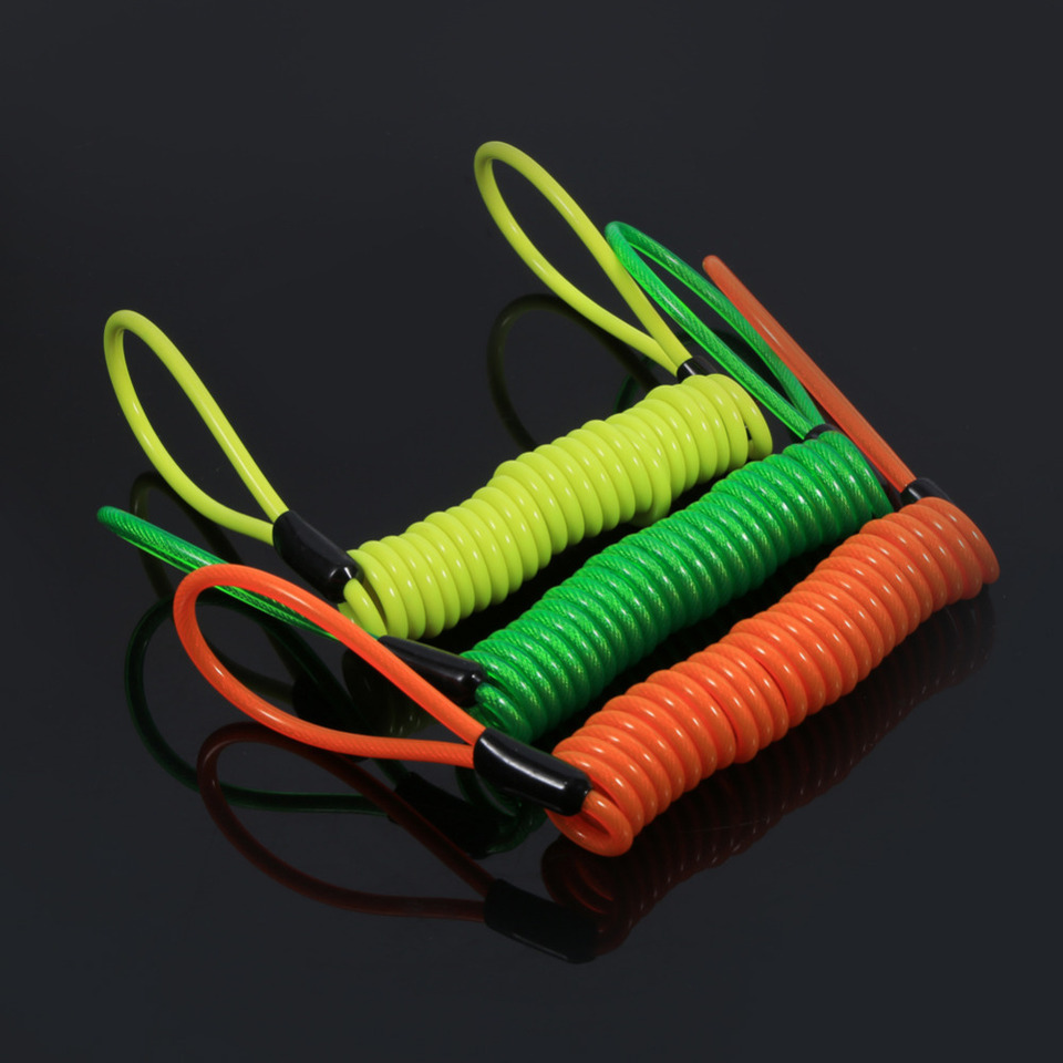 Green Disc Lock Cable Motorcycle Bike Alarm Disc Lock Antitheft Security Spring Reminder Coil Cable