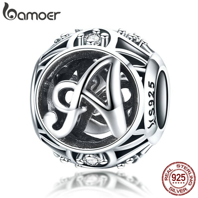 BAMOER Hot Sale 925 Sterling Silver Letter Collection A to Z Alphabet Charms Beads 2