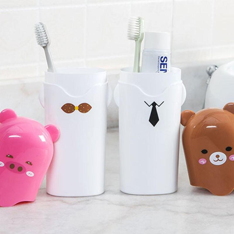 Cute Cartoon Toothbrush Box Case Holder Travel Portable Washing Cup With Cover Green Bird Brown Bear Pink Pig White Panda image