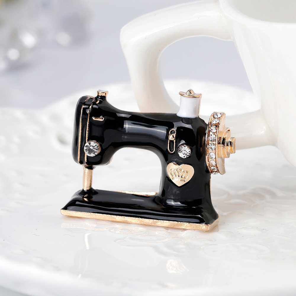 Baru Wanita Paduan Berlian Imitasi Perhiasan Aksesori Aewing Mesin Bros Syal Pin D