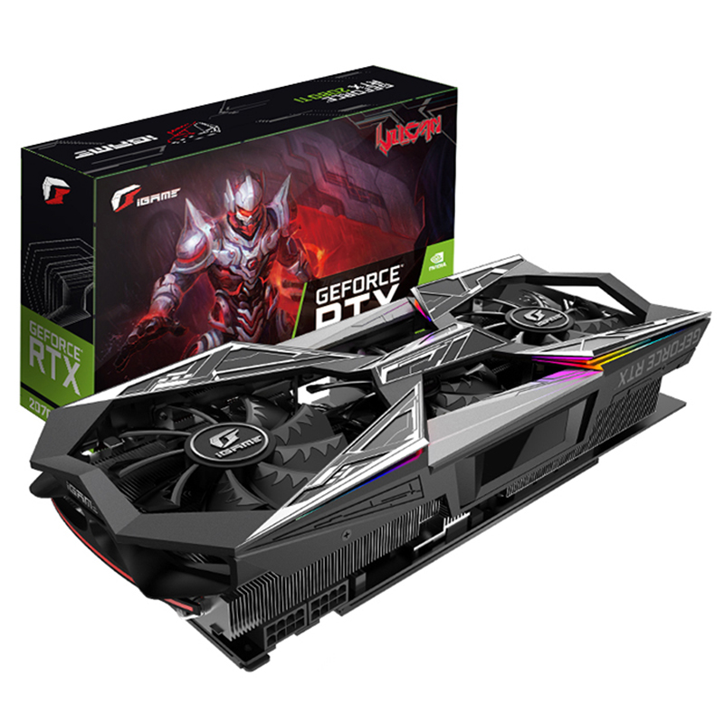 2019 New Colorful IGame GeForce RTX 2070 Vulcan X OC Graphics Card GDDR6 8G 256Bit Base 1410MHz Boost 1815MHz 2 Fans LCD Screen