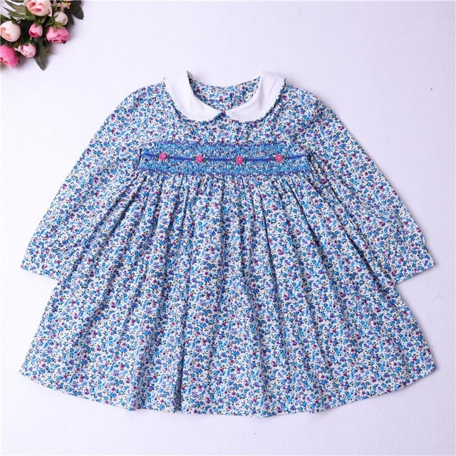 Girl Smocked Dress Long Sleeve Baby Girl Clothes Embroidery Flower