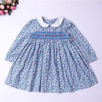 girl smocked dress long sleeve baby girl clothes embroidery flower Party kids dresses For Girls princess dress holiday school