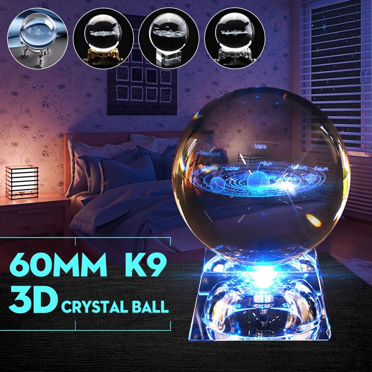 60MM Diameter 3D Crystal Ball Solar System Model  Home Decoration Accessories Gift 3D Laser Engraved Quartz Glass Ball