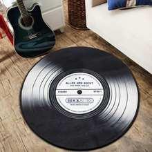 4 tailles vinyle Record rond tapis de sol tapis Europe rétro noir CD pour salon chambre étage décoration prière Yoga