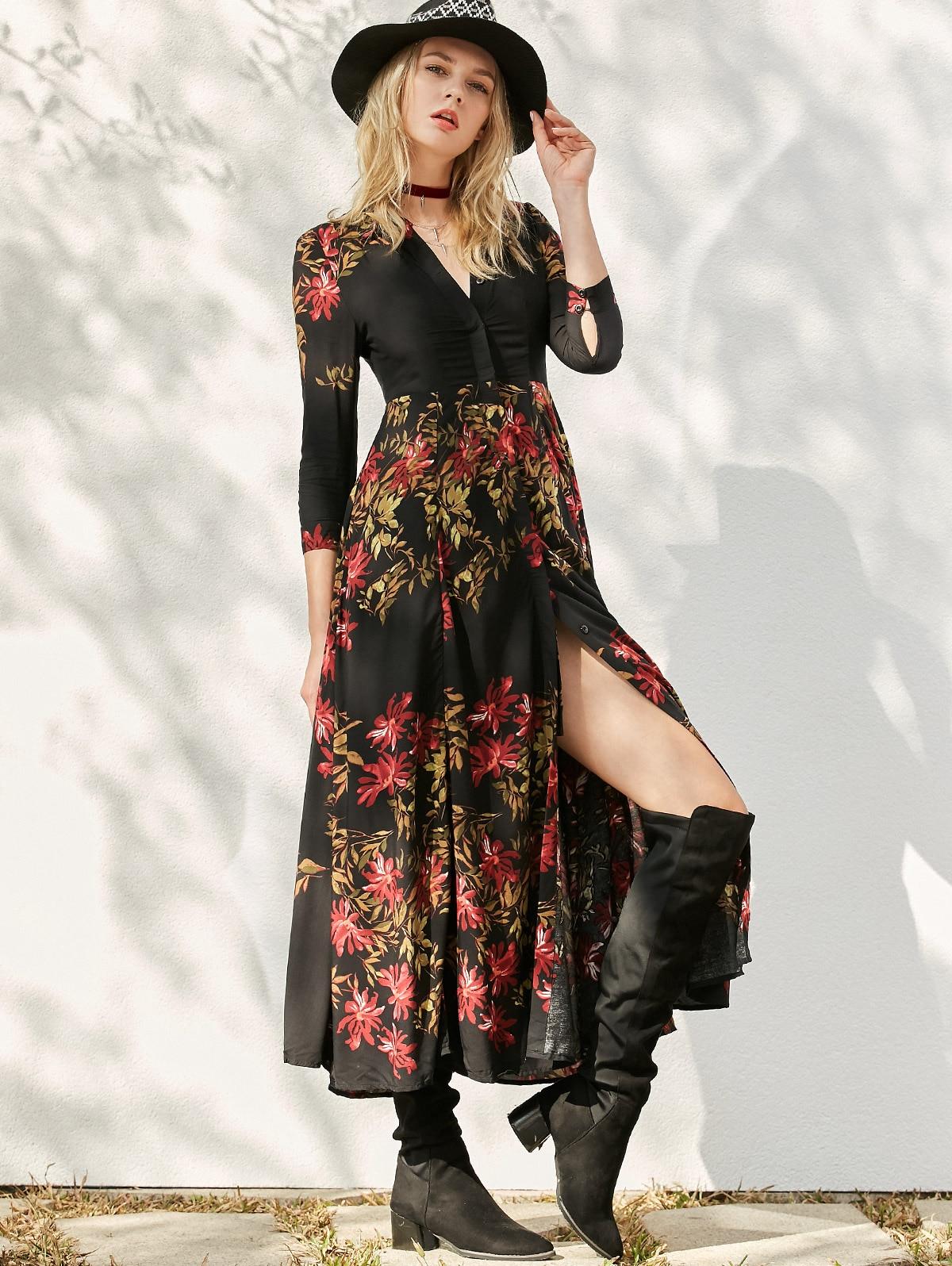 Женское весеннее платье длинное платье-рубашка женское вечернее платье с цветочным принтом с высоким разрезом богемное платье халат Femme ра...