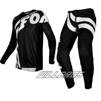 Fox-Conjunto de ropa de carreras para adultos, Jersey y pantalón para Motocross, todoterreno, carreras, color negro, MX 2019, envío gratis, 180