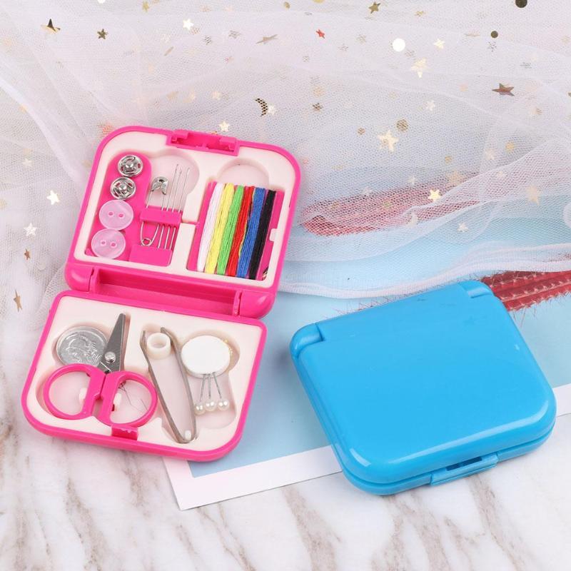 Sewing Kit Thread Needles Pins Tape Scissor Thimble Travel Home Repair Set Case